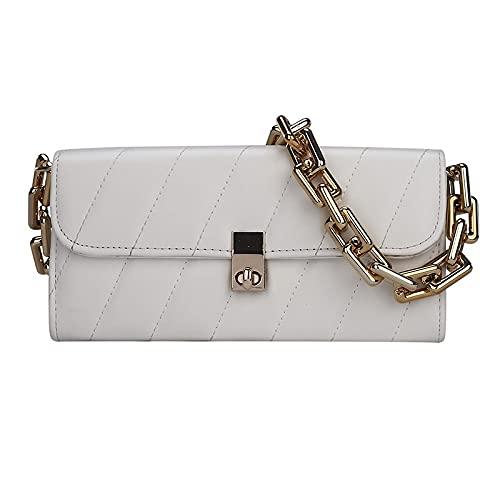 Bolsos de piel para mujer, bolsa de almohada pequeña con patrón de diamante, color sólido, cartera de cuero suave (color: blanco, tamaño: 23,5 x 11 x 6,5 cm)