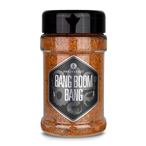 Ankerkraut Bang Boom Bang – dry rub voor vlees – BBQ kruiden met kruidige en pittige smaak – spice mix met zoete paprika, gerookt zout en tijm – droge marinade – 210 g