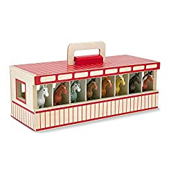 Image: Melissa and Doug Take-Along Show-Horse Stable Play Set With Wooden Stable Box and 8 Toy Horses | Stable doors swing open smoothly and close with latch