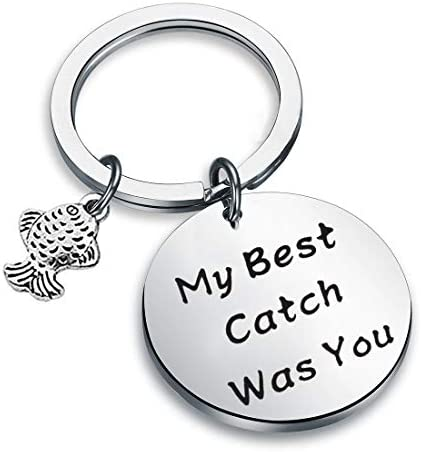 Fishing Lure Jewelry My Best Catch Was You Fisherman Gifts Funny Keychain For Husband Boyfriend product image
