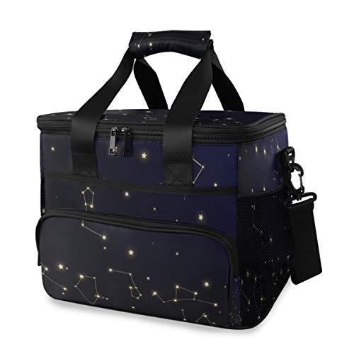LINPM Kühltasche, Sternbildkarte Mystic Cosmic Sky Viele 15l große isolierte Lunchbag Picknickkühler, großer Kühler