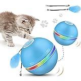 Camfosy Interaktives Katzenspielzeug Ball, Elektrisch Katzenbälle mit LED-Licht 360°...