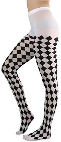 ToBeInStyle Women's Harlequin Designed Opaque Full Footed Pantyhose - BLACK/WHITE