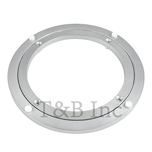 TamBee 10 Inch Aluminum Lazy Susan Heavy Duty Metal Rotating Hardware Turntable Bearings Ring 250mm Silver Turntable on Dining-table