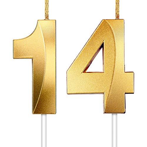 2 Stücke Nummer Kerze Gold Glitzer Kerzen Dekorative Geburtstagstorte Kerzen Geburtstag Kuchen Topper Dekoration für Hochzeit Geburtstag Jubiläum Feier Abschluss (Nummer 14)