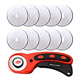 kuou 45mm Rotary Cutter Set, Rotary Cutter with 10 pcs Extra Titanium Coated