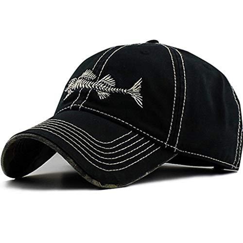 AKIZON Mens Hats Baseball Cap with Fish Bones - Fishing Hat for Men, Black 7 1/4