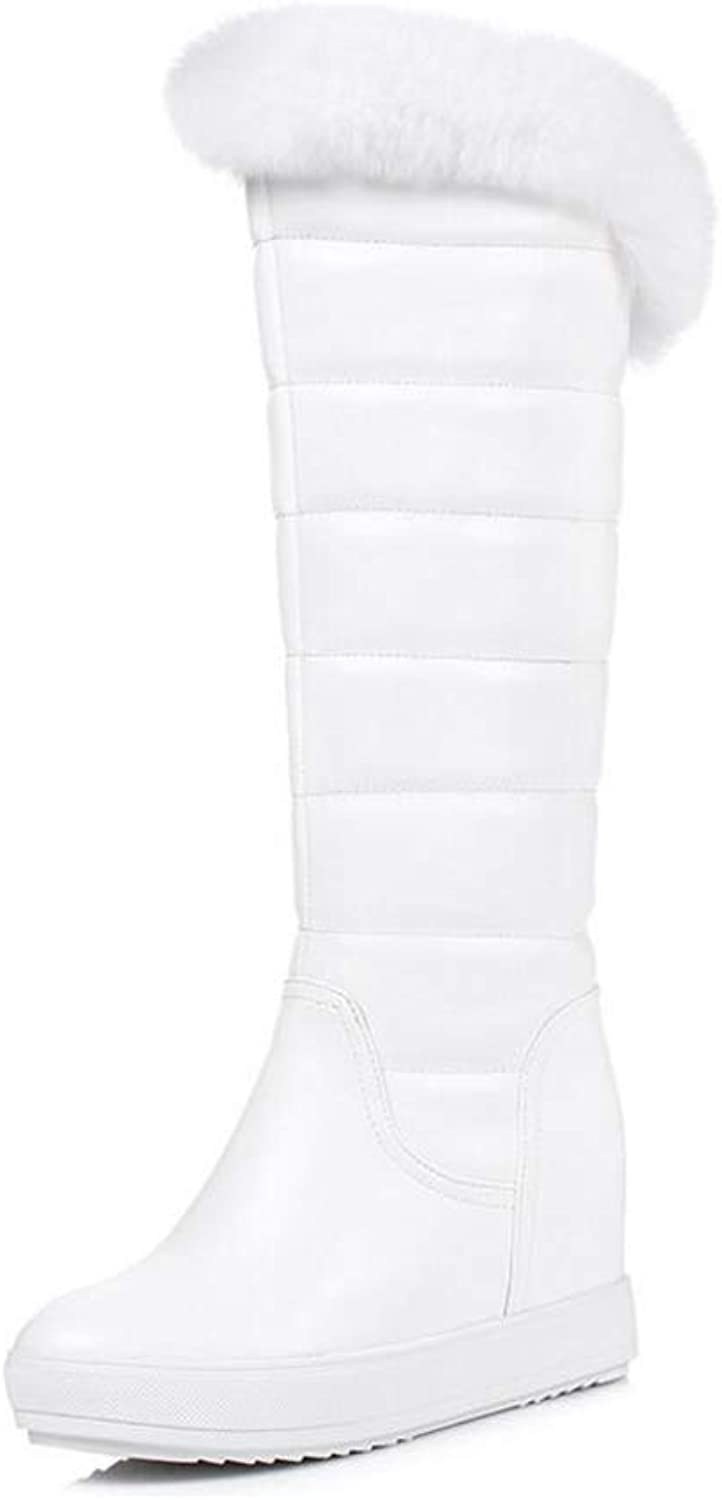 Women's Boots, Artificial PU Winter Warm Windproof Snow Boots Boots Ladies Flat Slip-Ons Booties Outdoor High Boots (color   White, Size   35)