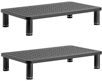 Husky Mounts Monitor Riser Laptop Stand Adjustable Legs Stackable 14.5  x 9.25  x 3.25  Max Height Matte Black Steel  Black 2-Pack