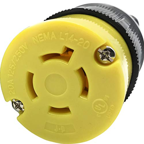 Journeyman-Pro 2413 20 Amp, 125/250 Volt, NEMA L14-20R, 3P, 4W, Locking Female Plug Connector, Black Industrial Grade, Grounding 5000 Watts Generator Rating (L14-20R Female Plug)