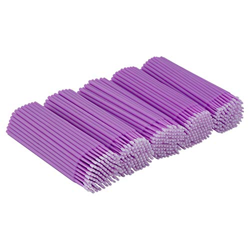 Cuttte 500 PCS Disposable Micro Applicators Brushes Latisse Applicator for Eyelashes Extensions and Makeup Application (Head Diameter: 1.5mm)