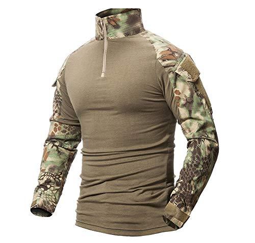 LiliChan Mens Long Sleeve tattico Militare T-Shirt di Combattimento Camicia Esterna con la Chiusura Lampo (Jungle Python, EU M (Fit Petto: 36'-39'))