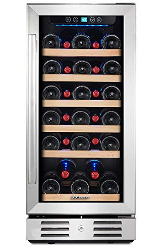 Kalamera 15'' Wine Cooler 30 Bottle Built-in or Freestanding with Stainless...