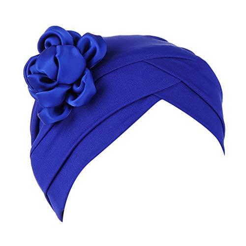 Dorical Chemotherapie Krebs Kopf Schal Hut Kappe Damen Floral Beanie Schal Muslim Kopftuch Wrap Cap Headwear Bandana für Chemo/Turban Kopfbedeckung Stretch Einfarbig Muslime Kopftuch(Blau)