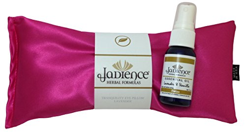 Pink Silk Eye Pillow - Lavender Vanilla Essential Oil Spray: Relieves Stress, Insomnia, Headache, Sinus Pressure & Tension | Perfect Eye Pillows for Yoga | Aromatherapy Sleep Mask by Jadience
