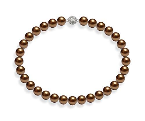Schmuckwilli Südsee Tahiti Damen Muschelkernperlen Perlenkette Braun Magnetverschluß echte Muschel 45cm dmk3008-45 (14mm)