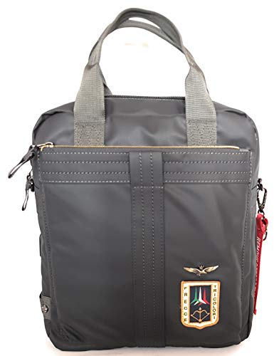 dielle manifatture srl Aeronautica Militare Line Arrows Messenger Bag Backpack in Technical Fabric Rubberized Anthracite AM-344 33x29x12 cm