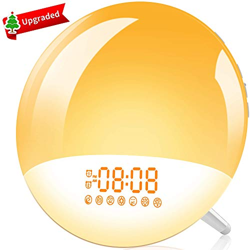 Wake Up Light, LBell Sunrise Alarm Clock 7 Alarm Sounds/7 Colorful&FM Radio, Dual Alarm Clock with USB Charging Port, Sleep Assist&Snooze, Night Light for Kids Adults Bedrooms