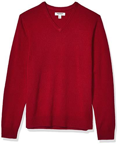 Amazon Brand - Goodthreads Men's Lambswool V-Neck Sweater, Red Medium