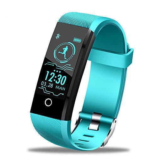 YUYLE Smartwatch, nieuwe smartwatch, heren en dames, hartslagmonitor, bloeddruk, fitnesstracker, smartwatch, sport voor iOS en Android, Celeste Y Blanco