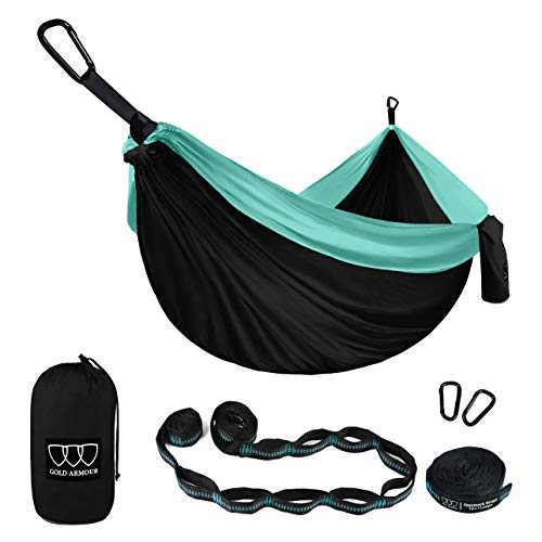 Gold Armour Camping Hammock - XL Double Parachute Hammock (2 Tree Straps 16 LOOPS/10 FT Included) USA Brand Lightweight Nylon Mens Womens Kids, Best Camping Accessories Gear (Black and Seafoam)
