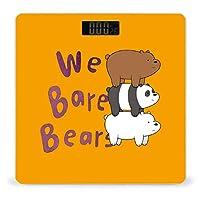 We Bare Bear ぼくらベアベアーズ 体重計、ステップオンテクノロジーを備えた精密デジタルボディバスルームスケール、強化ガラスイージーリードバックライト付きLCDディスプレイ