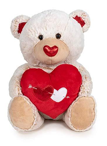 SL Osito de Peluche con 1 corazón Rojo de Amor. Oso de Peluche de 54cm (Beige)