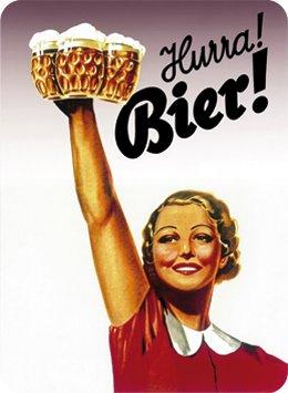RV Blechschild 8x11cm Hurra! Bier! Sign Blechschilder Schild Schilder 201/558
