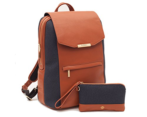 P.MAI Premium Valletta Leather Laptop Backpack for Women with Wristlet I 15-Inch Executive...