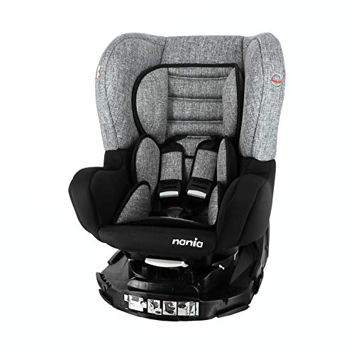 nania Autositz Revo 360° Gruppe 0+/1 (0-18kg), mit Seitenschutz – Silber