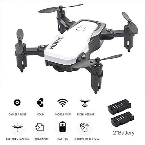 JJR/C Mini Drone Pieghevole con Videocamera 4K-Quadricottero Telecomandato,Traiettoria di Volo/Induzione A gravità,Regali per Aerei per Ragazzi Ragazze Principianti Adulti,Bianca,2Battery