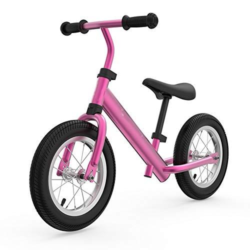 ZXL 12'Balance Bike, Bicicletta per Bambini per 2-6 Anni, Bici per Bambini in Lega di magnesio, Altezza Regolabile, Struttura antivibrante,Rosa