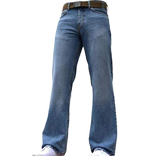BNWT Nieuwe Mens Brede Been Bootcut Flared Blauw Zware Denim Jeans Alle Taille & Maten Lichtblauw 42W X 34L