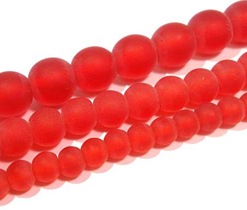 Gefrostete Glasperlen Set 3 Stränge Rund Perlenset 8mm 6mm 4mm Frosted Matt Vereist Glas Perlen zum Auffädeln Farbauswahl (Rot)