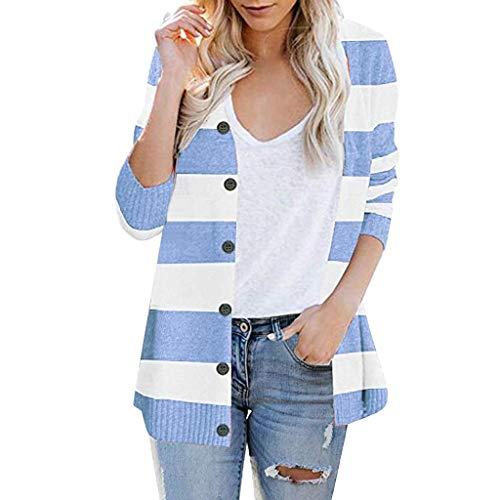 Cardigan Donna Elegante Maniche Lunghe Autunno Giacca Lungo Irregolare Casual Maglia Maglione Cappotto Bottoni Tasche Bottone Moda (M,2- Blu)