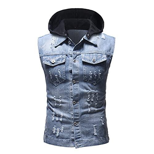 Zerrissene Jeans-Kapuzenweste Für Herren Ärmellose Jeans-T-Shirts Mit Knopfleiste Und Kapuze Distressed Casual Slim Fit Jacke Tanktops (L,Hellblau)