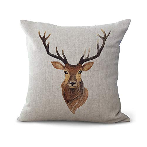 Hengjiang WEIANG Cushion Cover Holy Deer Dream Sika Deer Creative Art Pillow Case Home Bar Club Car Bed Decor Sofa Cushion Cover (18x18 inch/ 45x45cm) MY-A1151-01 (#09)