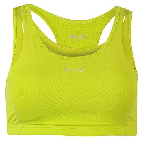 USA Pro Womens Ladies Medium Sports Bra Training Crop Tops T Shirt Tee Lime...
