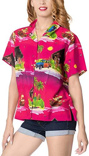 LA LEELA hawajska bluzka   damska koszulka plażowa   top na imprezę plażową   lato na co dzień   luźny aloha   krótki rękaw   XS - 3XL     Cyfrowy DRT202