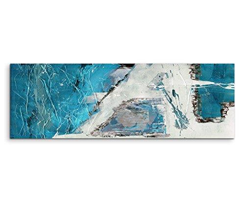 Stampa artistica su tela, 150 x 50 cm, motivo astratto, blu/beige/nero