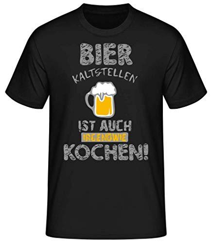 Shirtinator Bier Kaltstellen ist wie Kochen | Geschenk mit Bier Spruch für Herren | Lustiges Bier T-Shirt Original (Schwarz, XXL)
