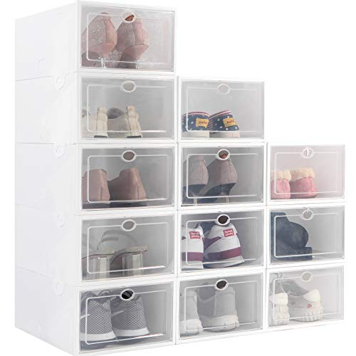 Stackable Shoe Storage Box, Foldable Clear Plastic Shoe Organizer 12 Pack, Need to be Assembled (White)