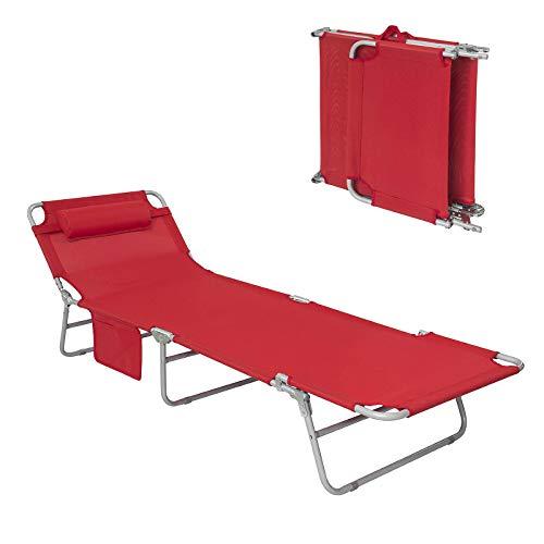 SoBuy® OGS35-R Chaise Longue Bain de Soleil Transat de Jardin Pliant Chaise de Camping inclinable, Pliable et réglable - Rouge