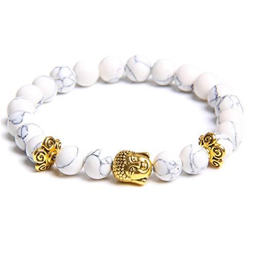 Buddha Head Bracelets Men Vintage Elastic Prayer Jewelry Natural Chakra Tiger Eye Stone Beads Bangle Gold Charm (Length : 19cm, Metal Color : Howlite)