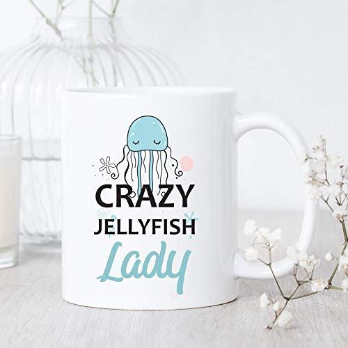 Taza de café Crazy Jellyfish Lady - Taza de medusas - Regalo de medusas - Taza de café de medusas linda - Taza de amante de las medusas - Regalo para el amante de las medusas