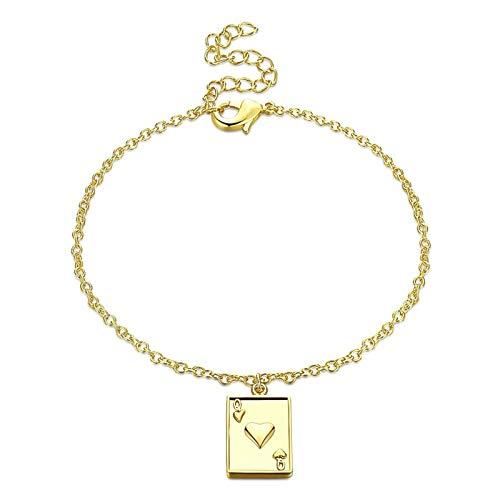 Aeici Ketten Armband Frauen Armreif Vergoldet Damen Spielkarten Q Armband Gold