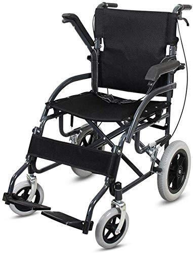 XUSHEN-HU Silla de ruedas de acero, ligera, plegable, con neumáticos sólidos, tamaño plegable, 80 x 76 x 26 cm, color negro, compatible con personas mayores y personas necesitadas, ligera