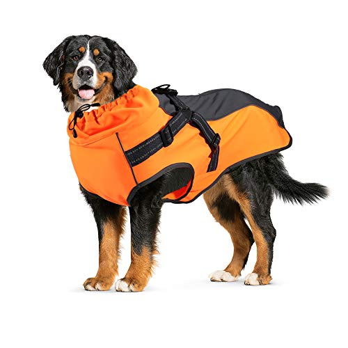 Lifeunion Dog Jacket with Harness, Reflective Strips, Waterproof Dog Vest for Medium Large Dogs, Warm Dog Sport Winter Coat with High Neckline Collar (S, Orange)