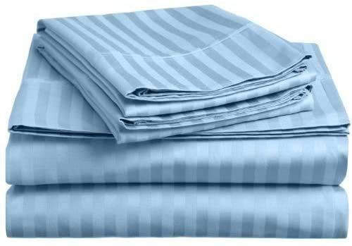 Tula Linen 1200 Hilos 100% algodón Egipcio Rayas Juego de Fundas de edredón y de Almohada de 290 x 240 cm + 2 Funda 50 x 90 cm Primera Calidad Color Azul Luz