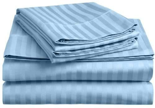 600 Thread Count 4 Pieces Striped Sheet Set, Pocket 44 cm 100% Egyptian Cotton (UK King Size 150 x 200 CM, Light Blue)